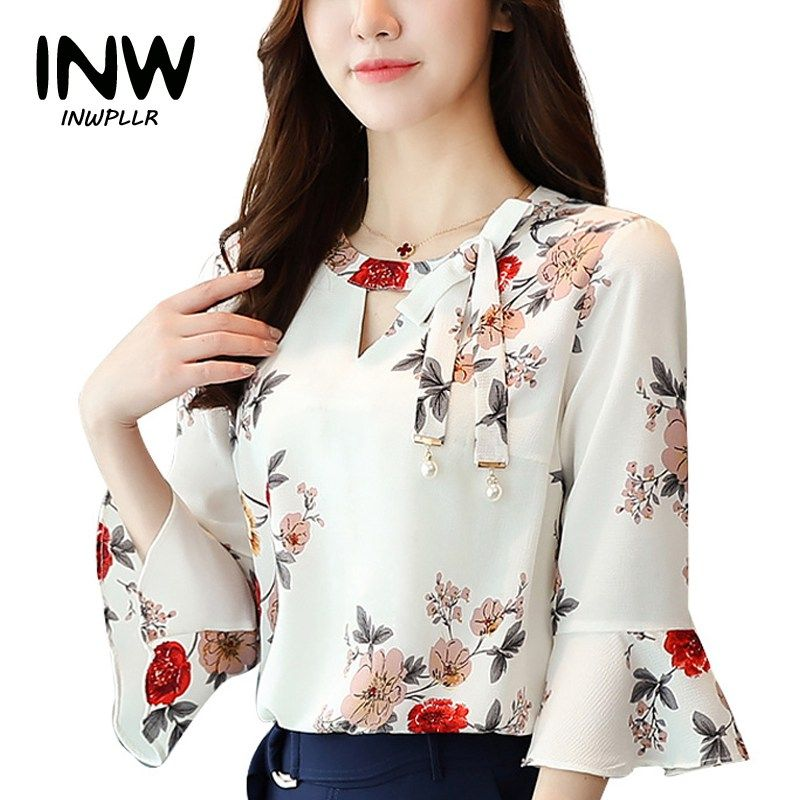 0c98425990e2 2017 New Summer Autumn Blouse Women Tops Floral Print Shirts Elegant Three  Quarter Flare Sleeves Chiffon Blusas Femininas-in Blouses & Shirts from  Women's ...