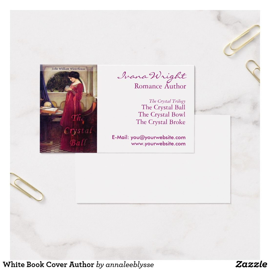 White Book Cover Author Business Card | Business cards, Book covers ...