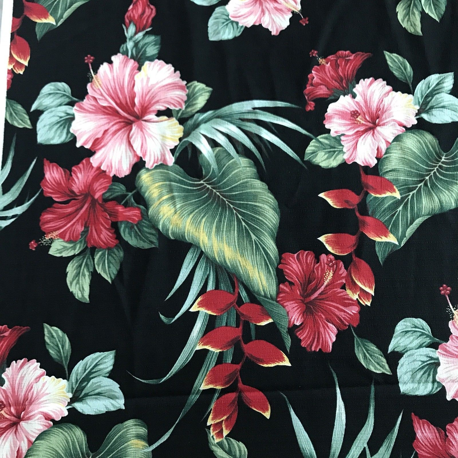 ff44add1daa5 Hawaiian Print Barkcloth Dobby Cotton Pink Red Hibiscus Black Tropical  Fabric | eBay