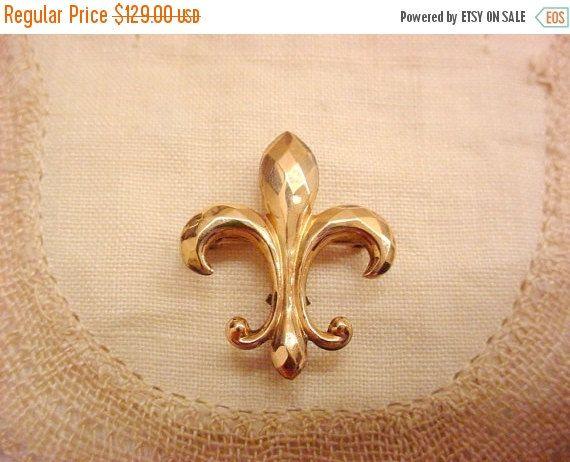 Art Deco Gold Watch Pin 10K Fleur de lis Antique Brooch by Zeppola