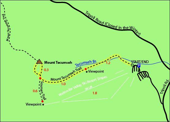 Mount Tecumseh Map Mount Tecumseh Trail Sosman Trail Waterville
