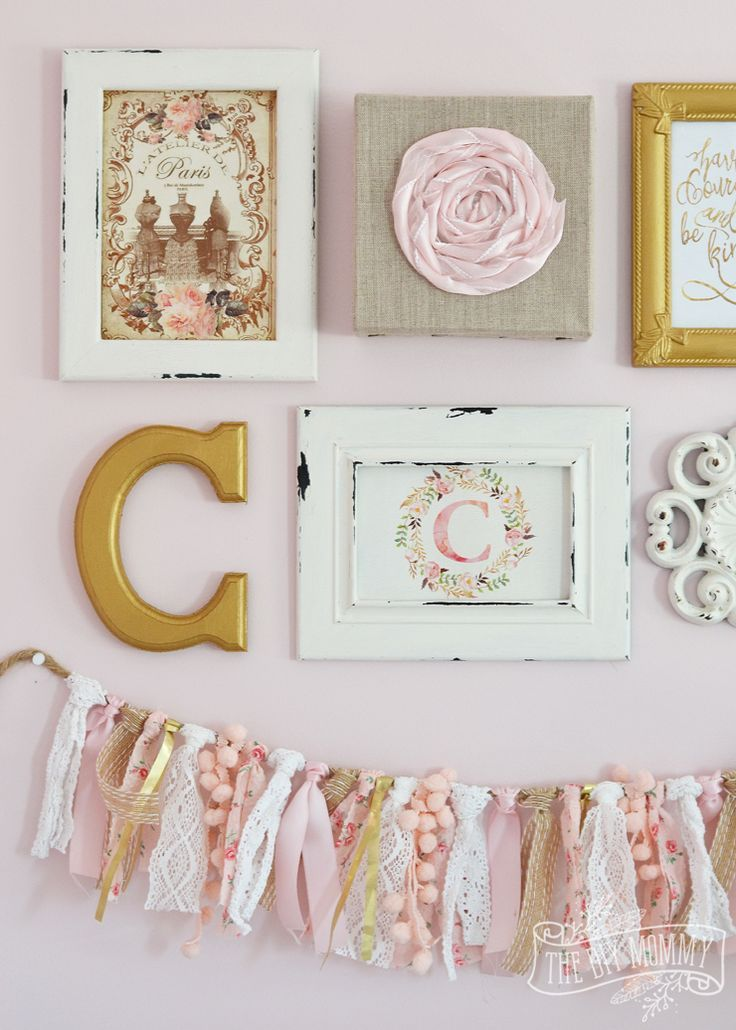 Thrifted Shabby Chic Gallery Wall and Ruffled Lamp in Blush Pink ...