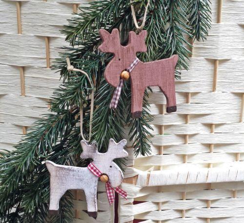 2x elch aus holz rentier baumschmuck karoband adventskranz tuerkranz basteln weihnachtsdeko. Black Bedroom Furniture Sets. Home Design Ideas