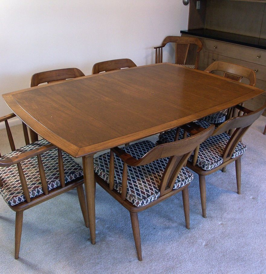 Country crafted wooden chair and stool ebth - 1950 S Sophisticate By Tomlinson Modern Table 8 Chairs