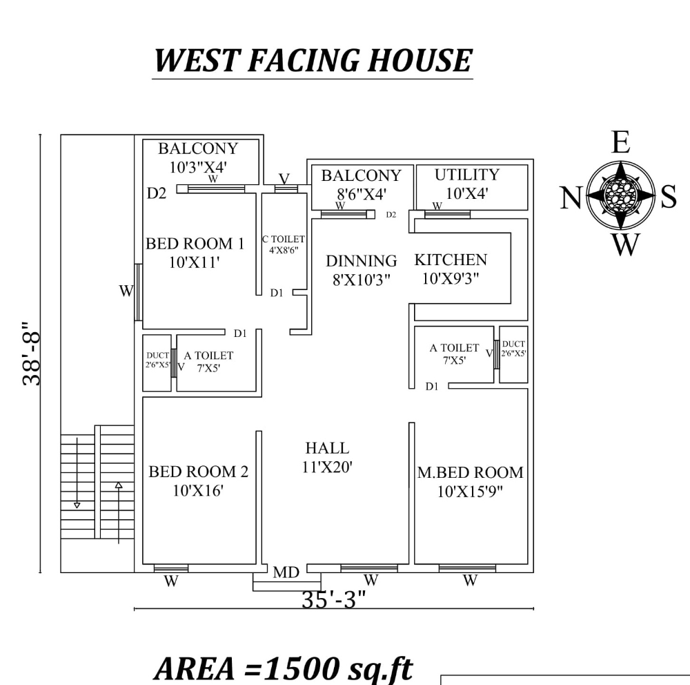 35 X38 9 West Facing 3bhk House Plan As Per Vastu Shastra Autocad Dwg File Details Cadbull West Facing House 2bhk House Plan Kerala House Design