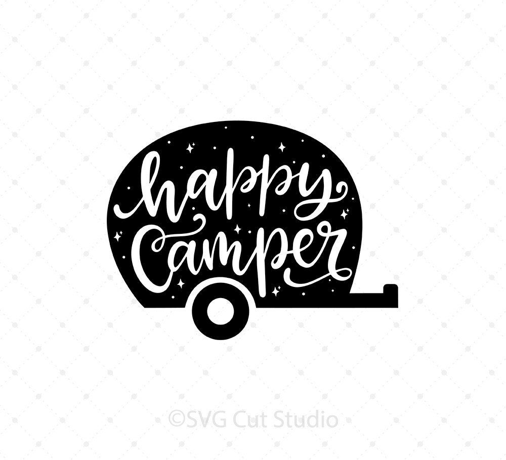 Happy Camper svg Camping svg Hand lettered svg Summer svg