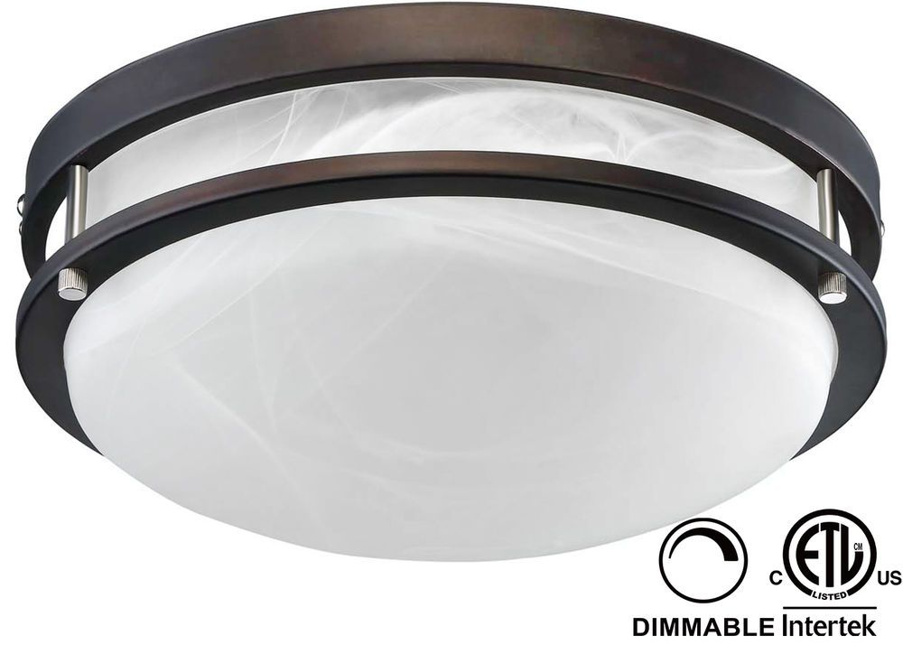 Dimmable led flush mount ceiling light 12 in etl listed 3000k oil dimmable led flush mount ceiling light etl listed decorative light fixture warm white glass cover oil rubbed bronze finish for living aloadofball Image collections