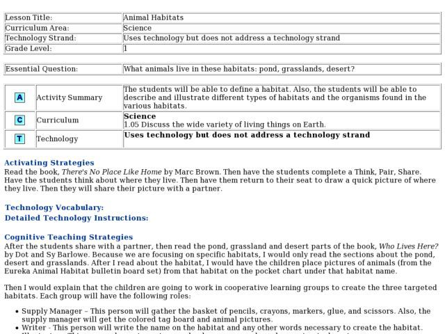 Animal Habitats Lesson Plan  Lesson Planet  Curriculum Materials