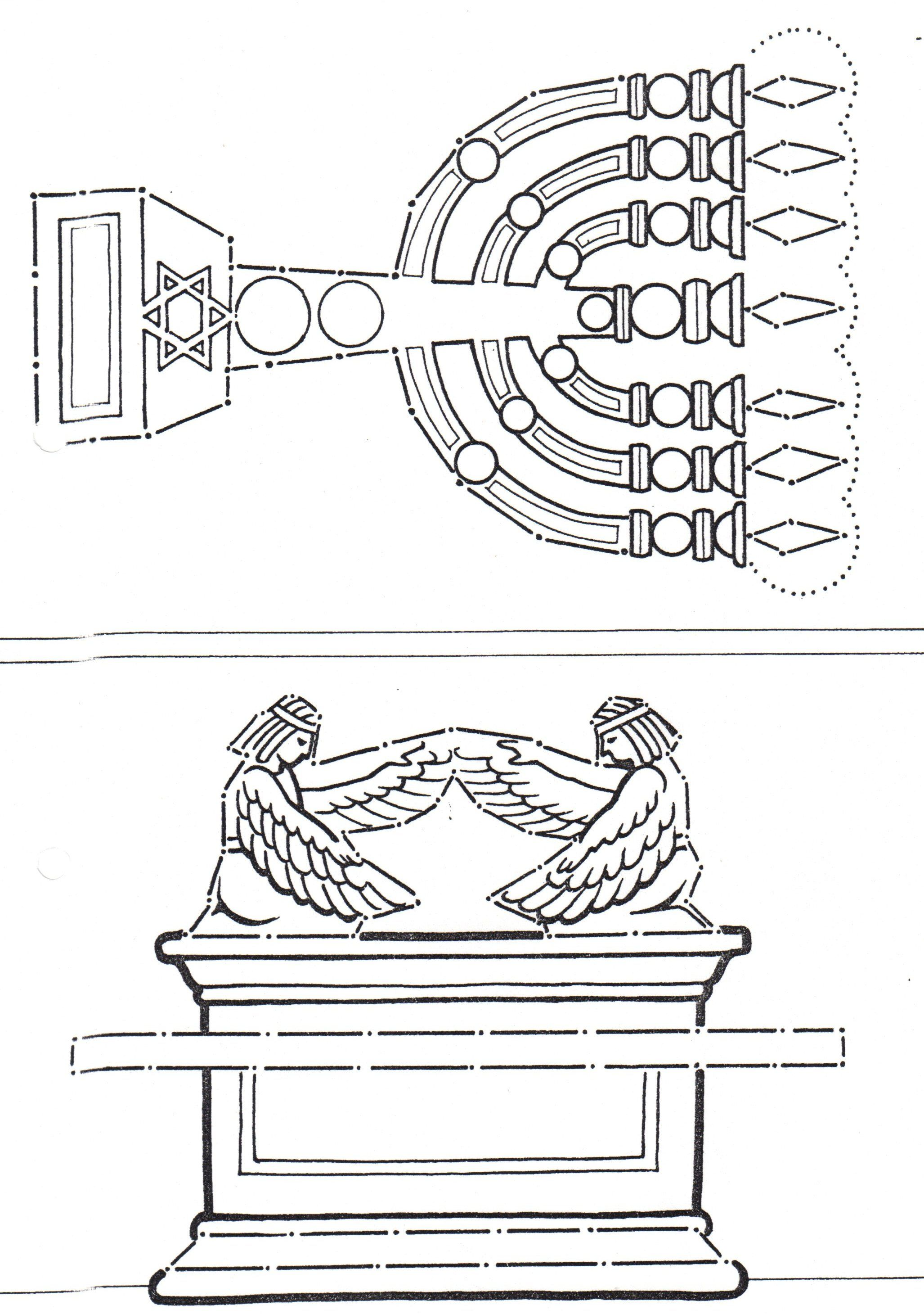 Coloring picture of the ark of covenant - Ark Of Covenant And Lampstand From The Tabernacle And Temple
