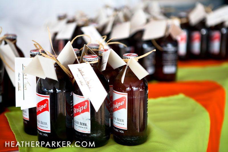 Caribbean Wedding Favor Ideas: Red Stripe Beer Jamaican Wedding Favors