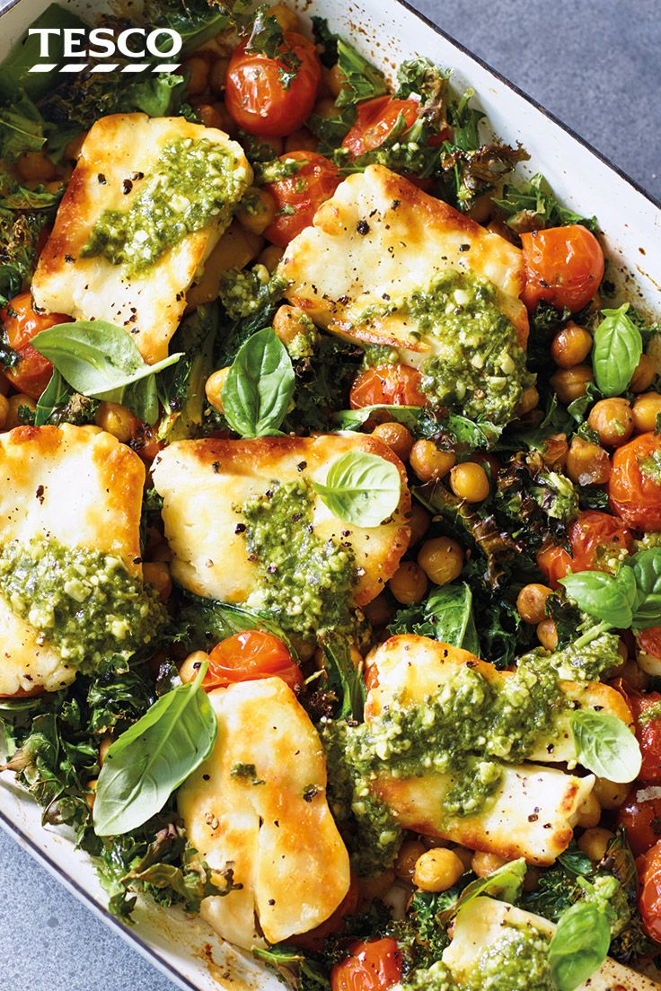 Baked Halloumi and Chickpeas | Halloumi Recipes | Tesco Real Food