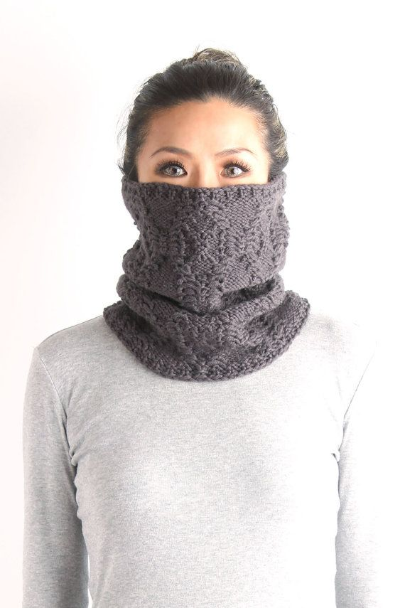 knitted neckwarmer, neck warmer, wool knit neckwarmer, knit cowl, chunky  knit cowl, loop scarf, gray knit neckwarmer,  gift for her