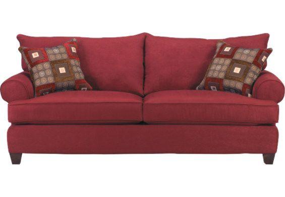 Thebrick Com Brooke Red Microsuede Sofa Brookr S