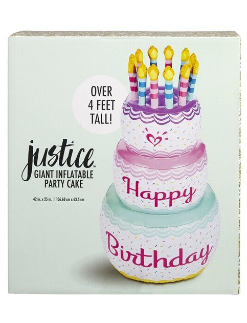 Shop Justice 4 Foot Giant Inflatable Party Cake and other trendy ...