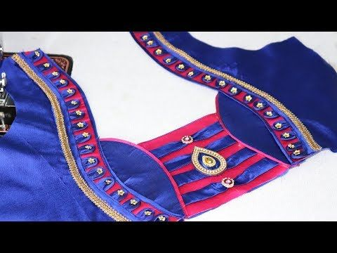 9bccf6d6ec668 Latest patch work blouse design for silk saree cutting and stitching at  home youtube also nikshitha
