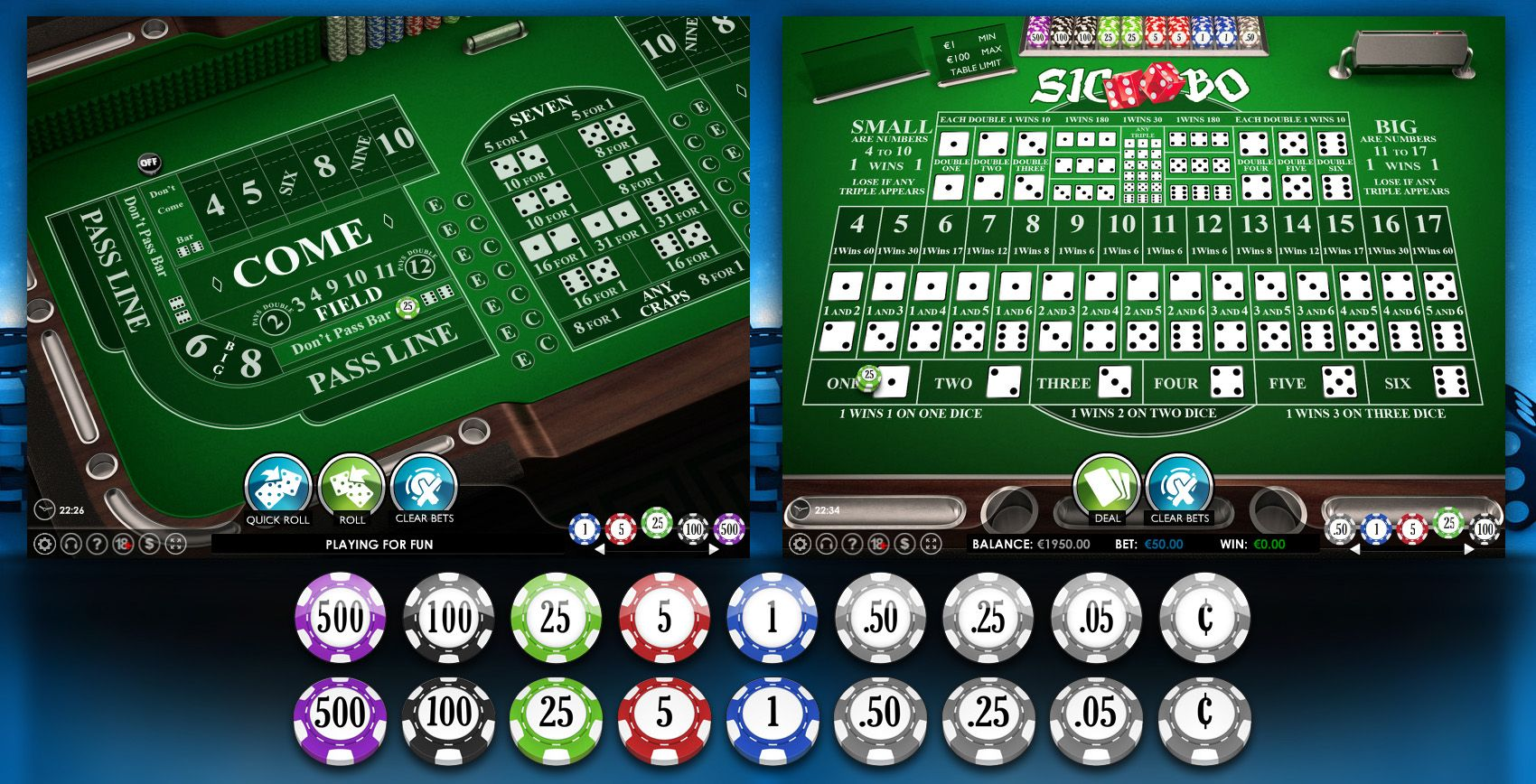 Casino Craps / SicBo Online Game