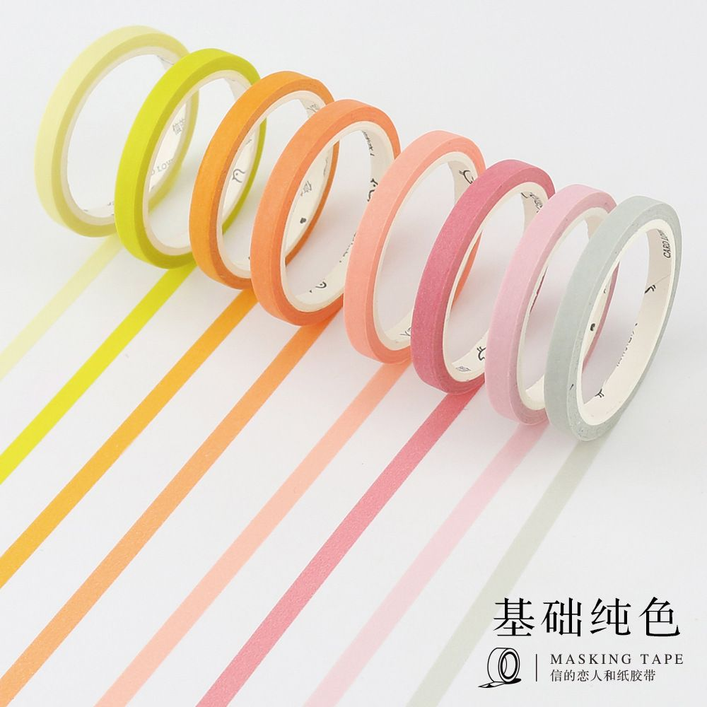 1 لفة لطيف اليابانية اشي الصنبور اللون الأساسي ضئيلة اخفاء الشريط Diy الحدود الزخرفية شريط لاصق سكرابوكينغ الغوص Washi Tape Set Masking Tape Diy Washi Tape Diy