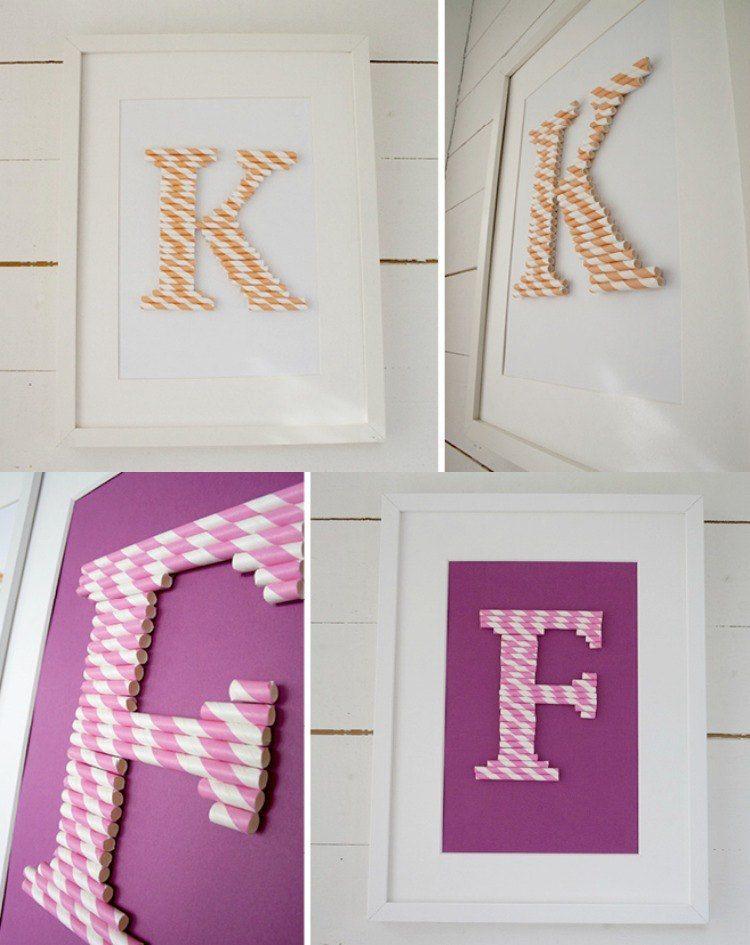 basteln strohhalmen kinder deko monogramm wanddeko bilderrahmen papier deko schaufenster. Black Bedroom Furniture Sets. Home Design Ideas
