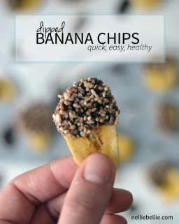 These chocolate dipped banana chips are a great simple and healthy snack.