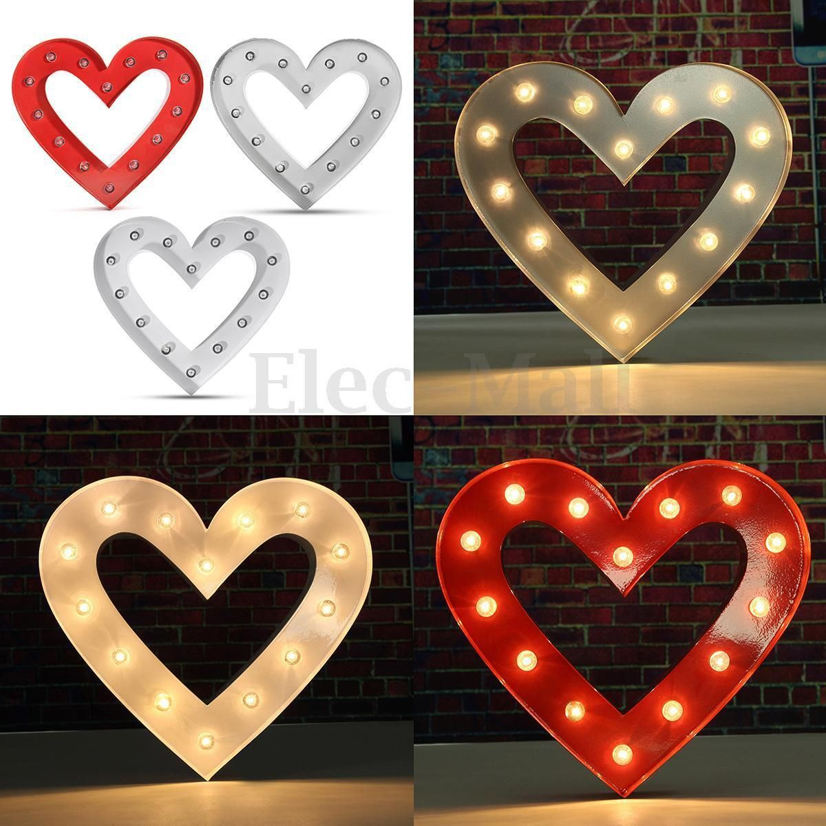 12 Metal Led Marquee Letter Symbol Light Heart Shape Wedding Party Home Decor