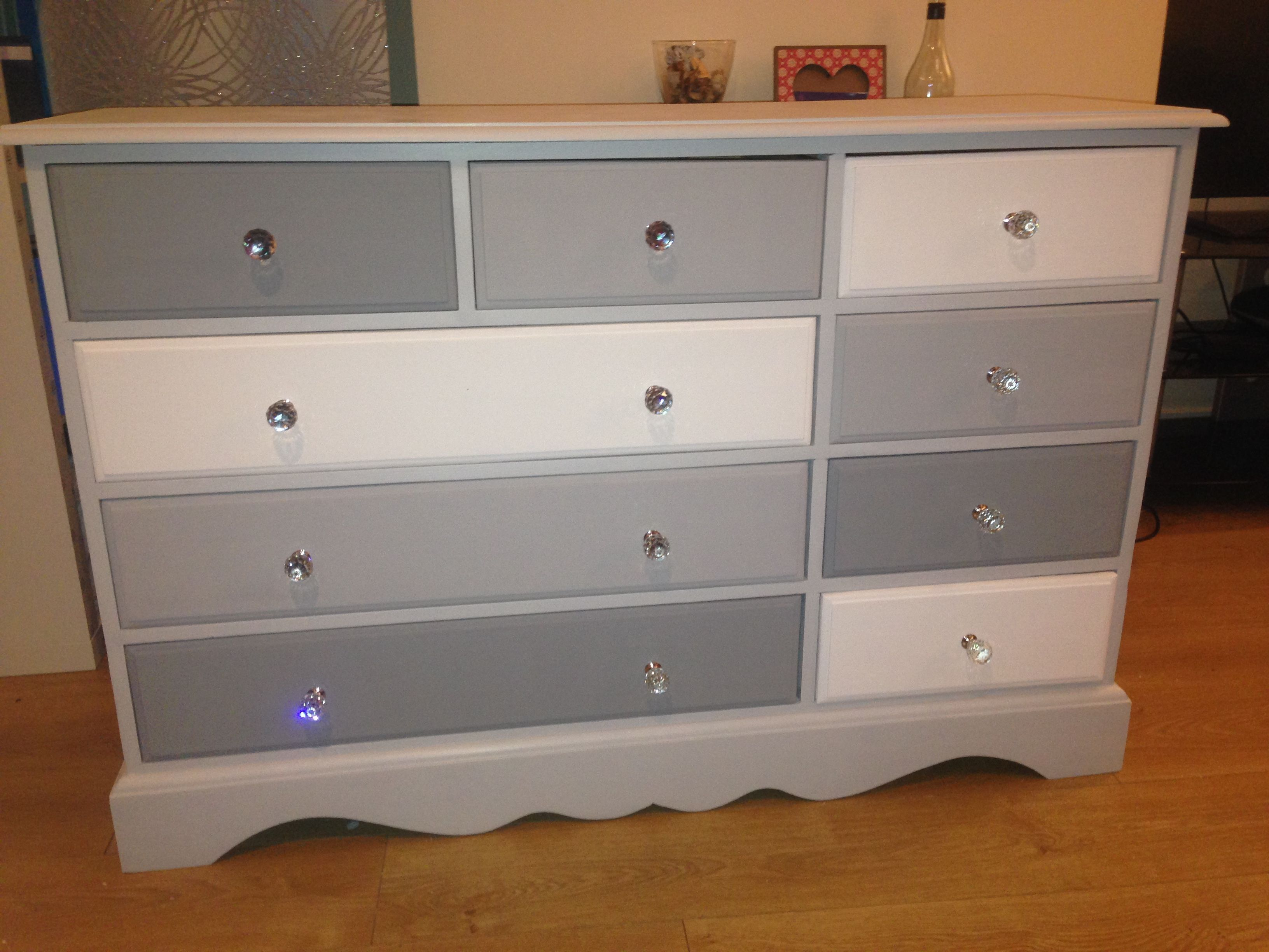 Upcycled Furniture: Chest Of Drawers In Different Shades Of Grey And  Finished With Glass Handles