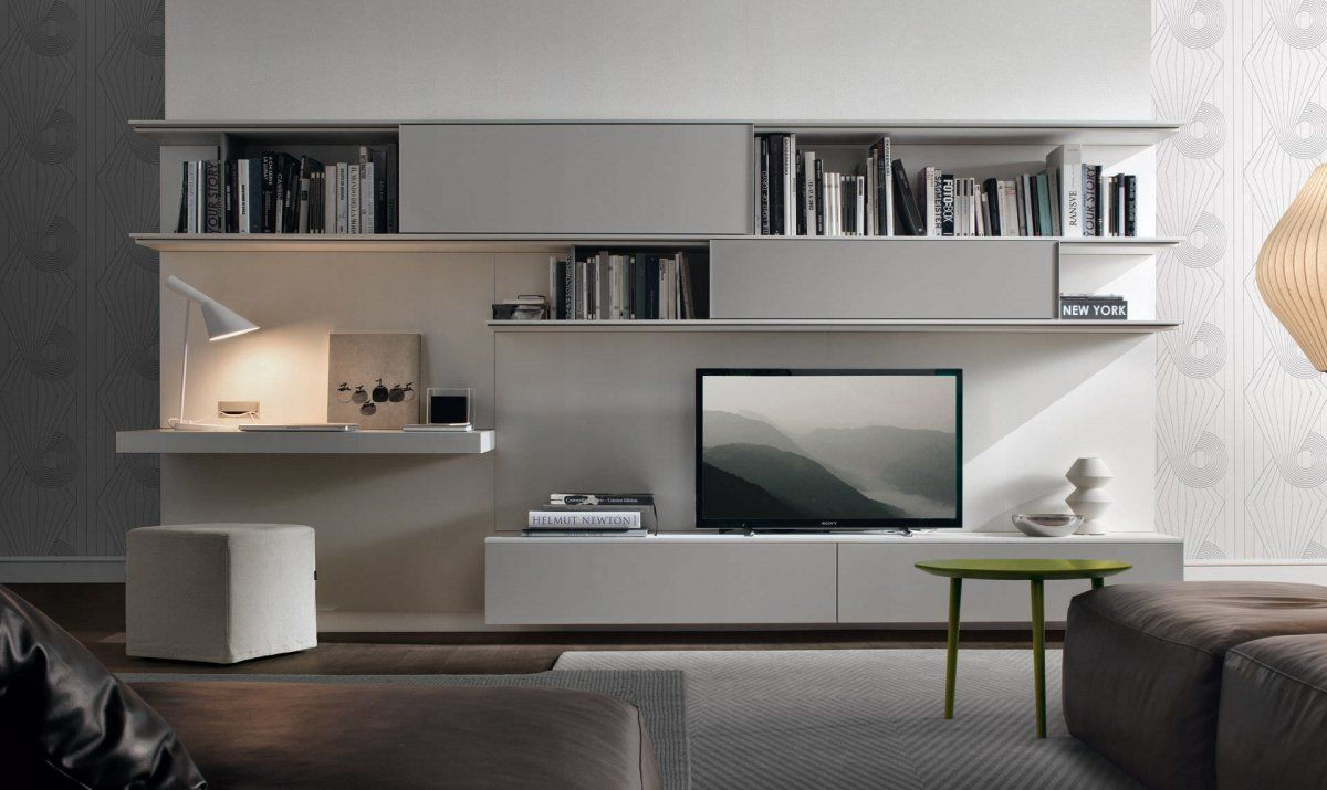 Modern Lacquered Tv Wall Unit With Bookshelves Furniture Y Decoma