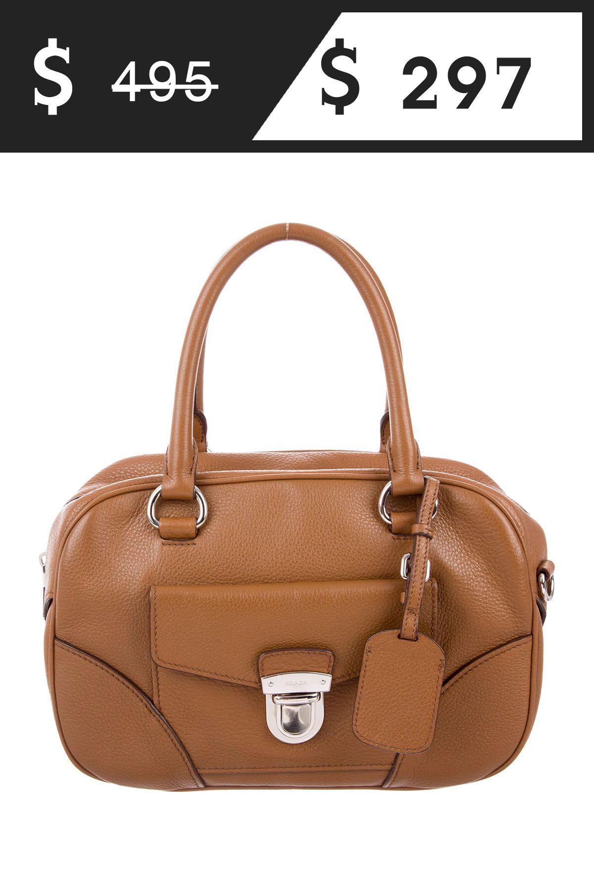 Prada Prada Vitello Daino Bauletto Bag  297  495 at TheRealReal Update  5 5 2018 854747db59e77