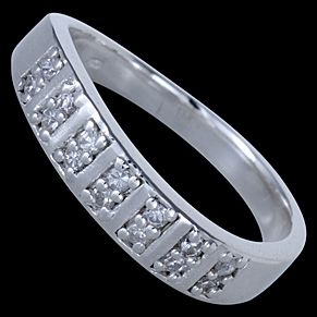 Sterling silver ring, CZ, pave