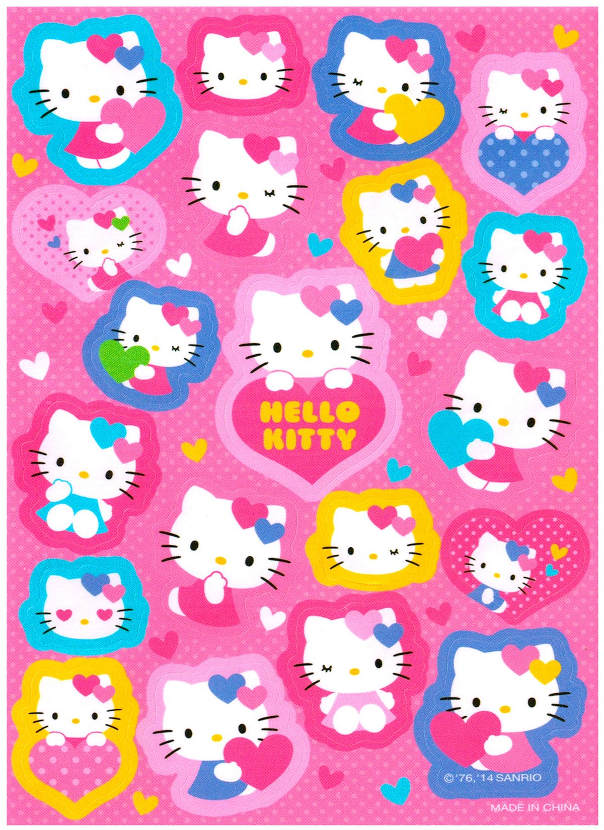 sanrio hello kitty hearts diecut sticker sheet
