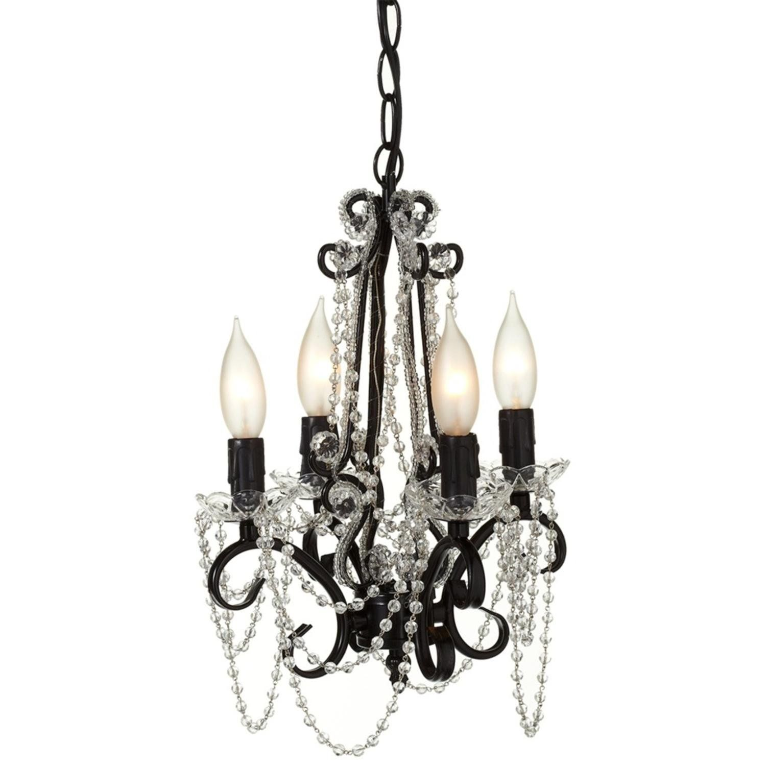 Diva At Home 14 Black Beaded Four Arm Chandelier 25w Max Plug In With Hard Wire Kit Included Candle Style Chandelier Metal Chandelier Country Kitchen Lighting