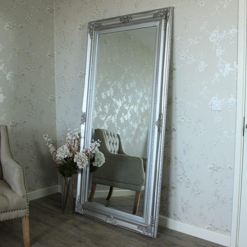 Large Ornate Silver Wall Floor Mirror Windsor Browne Modern