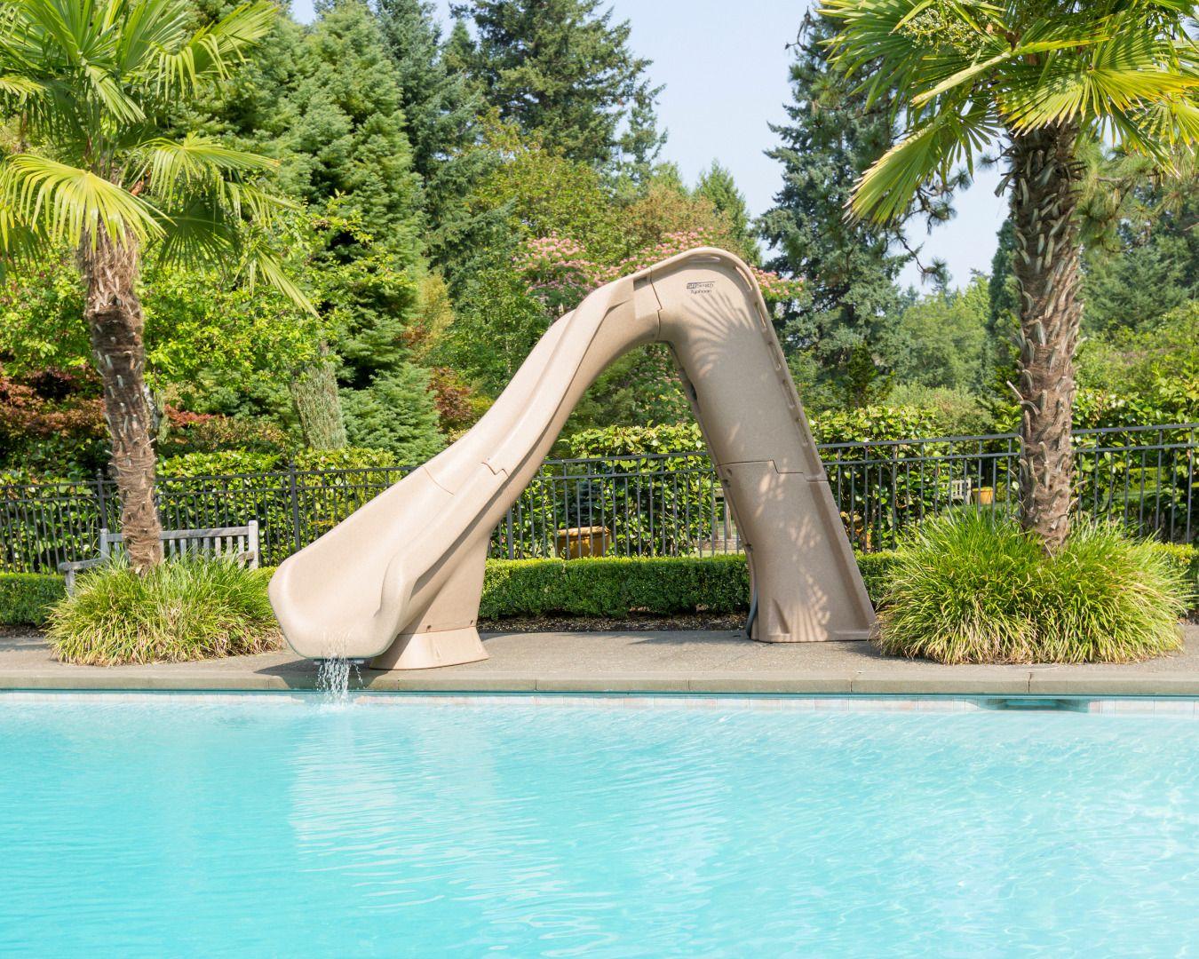S R Smith 670 209 58223 Typhoon Left Curve Pool Slide Sandstone In 2020 Inground Pool Slides Swimming Pool Designs Swimming Pool Slides