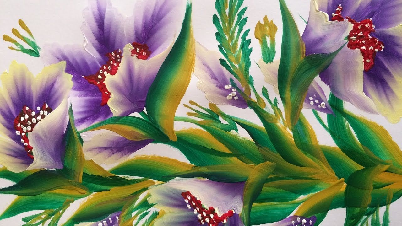 One Stroke Painting- Sliding Leaves and Purple Flowers