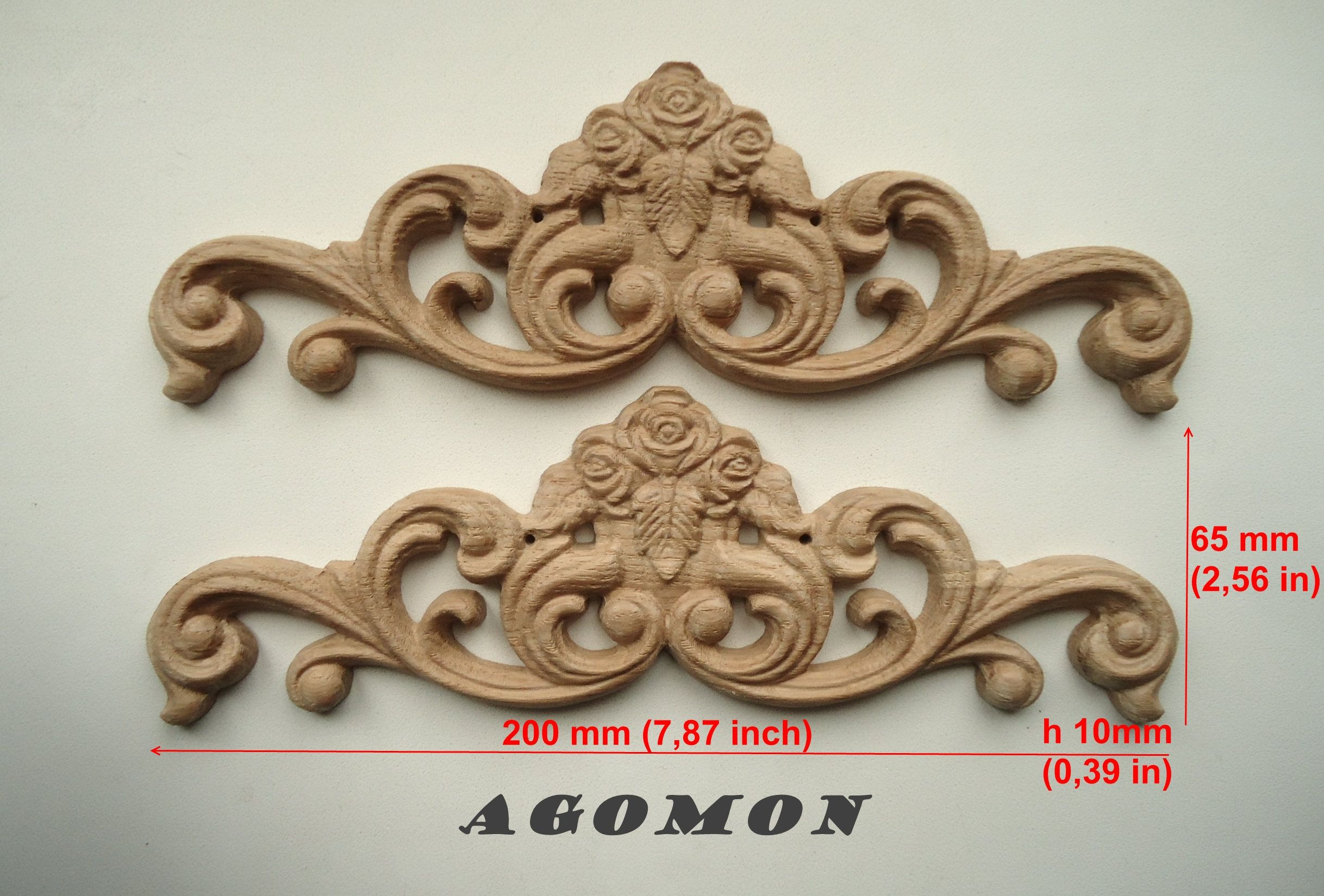 Wooden carved ornament set of pieces onley sticker