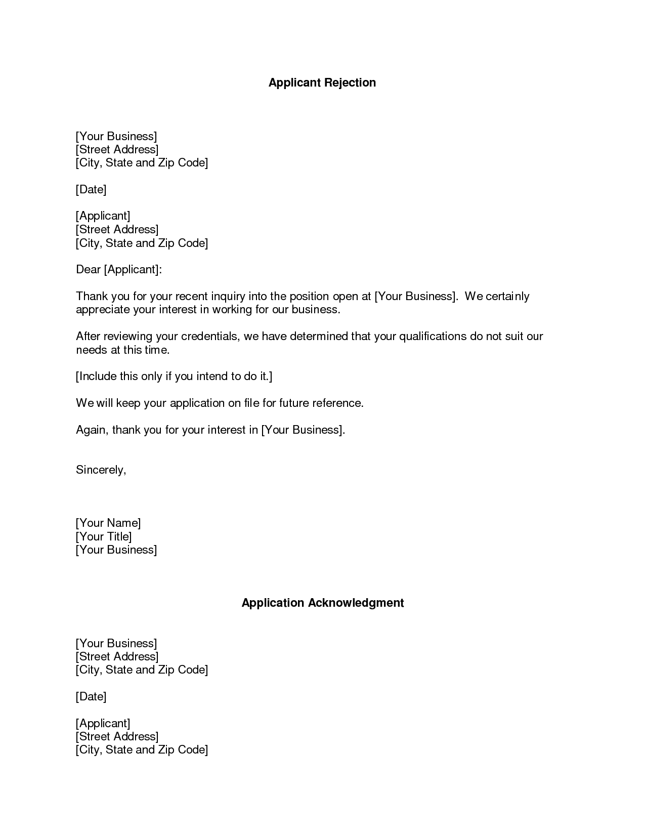 business rejection letter rejection letters are usually addressed ...