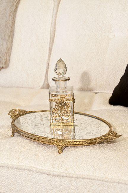 Vintage distressed vanity mirror & perfume bottle