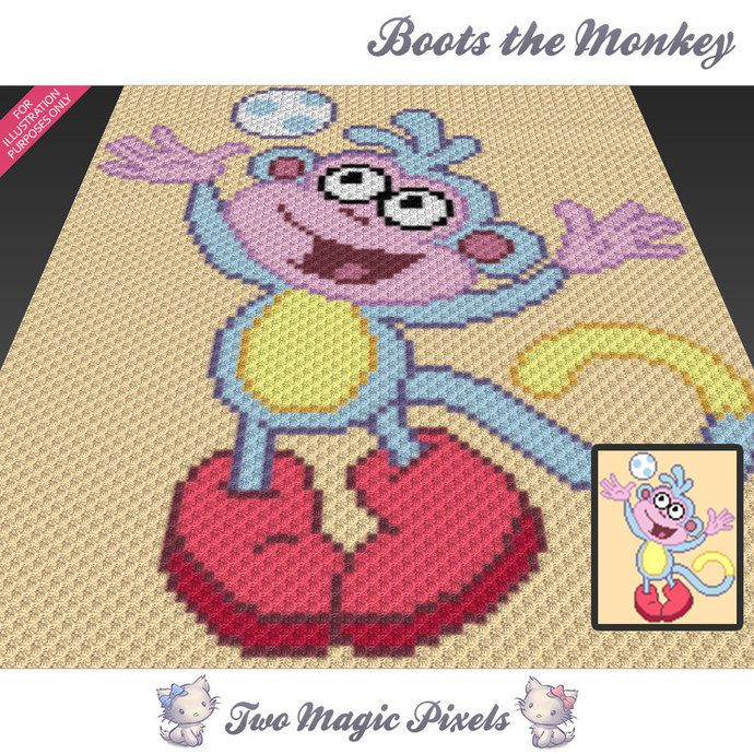 Boots The Monkey Inspired C2c Graph Crochet Pattern Instant