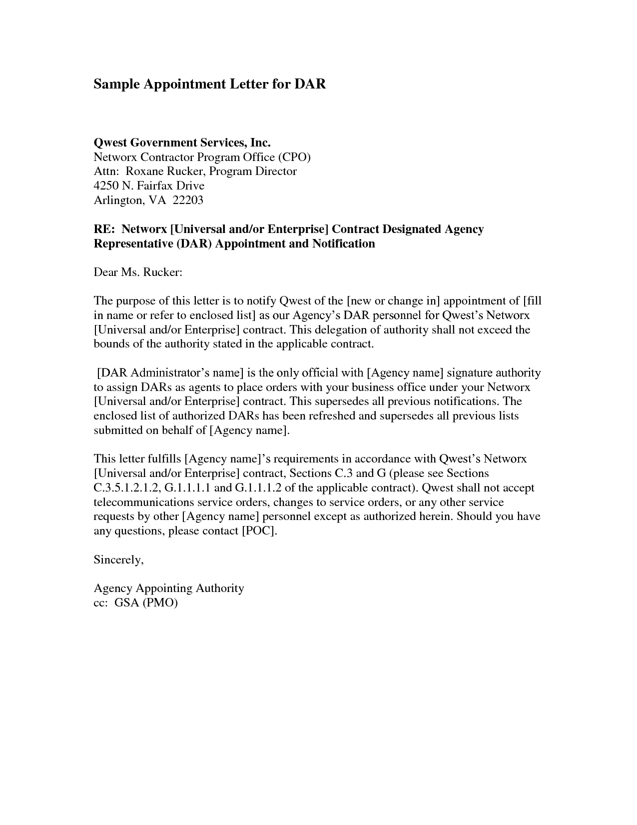 Business Appointment Letter  This Letter Is Used In Any Business