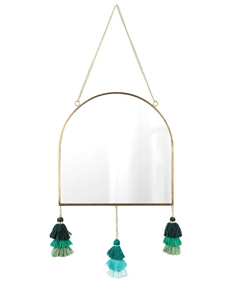 194508c2388a Tasselled Semi-Circle Green   Brass Wall Mirror in 2018