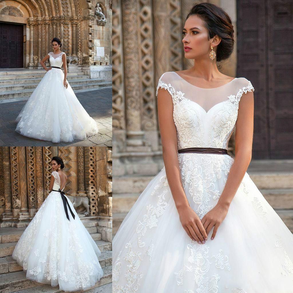 Vintage 2016 Lace Wedding Dresses Sheer Neck Applique Cap Sleeve Ball Gowns Ribbon Sash Chapel Train Milla Nova Cheap Bridal Dress Online with $105.53/Piece on Hjklp88's Store | DHgate.com