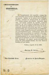 Circular impresa en la que el partido liberal invita a todos los interesados de la circunscripción de Montilla a un debate para combatir la reacción que va apareciendo. 10 de agosto de 1869.