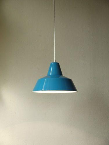 1(2) LOUIS POULSEN Industrielampe, Emaille, Danish Modern Design Lamp,  Bauhaus