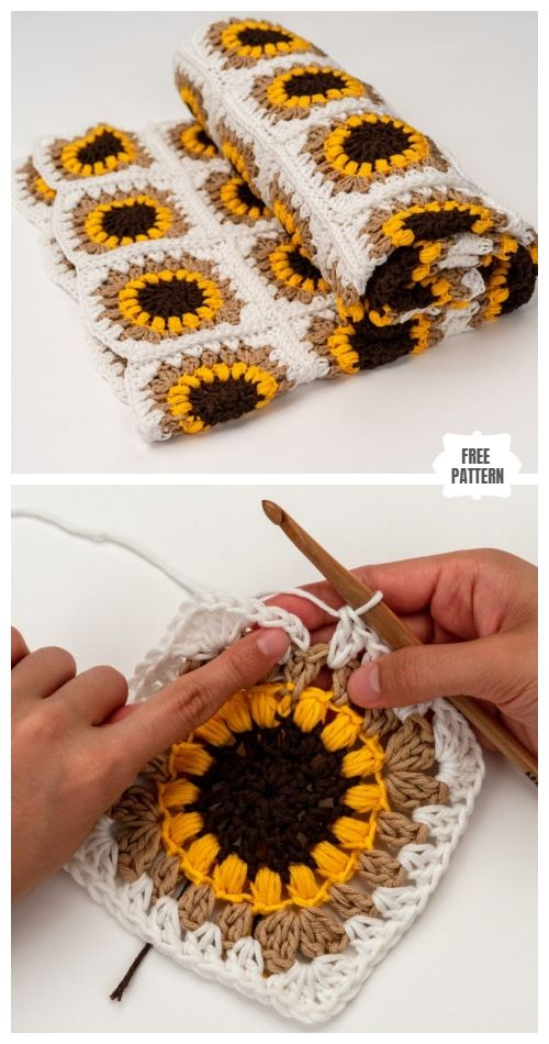Sunflower Granny Square Blanket Free Crochet Patterns #craft