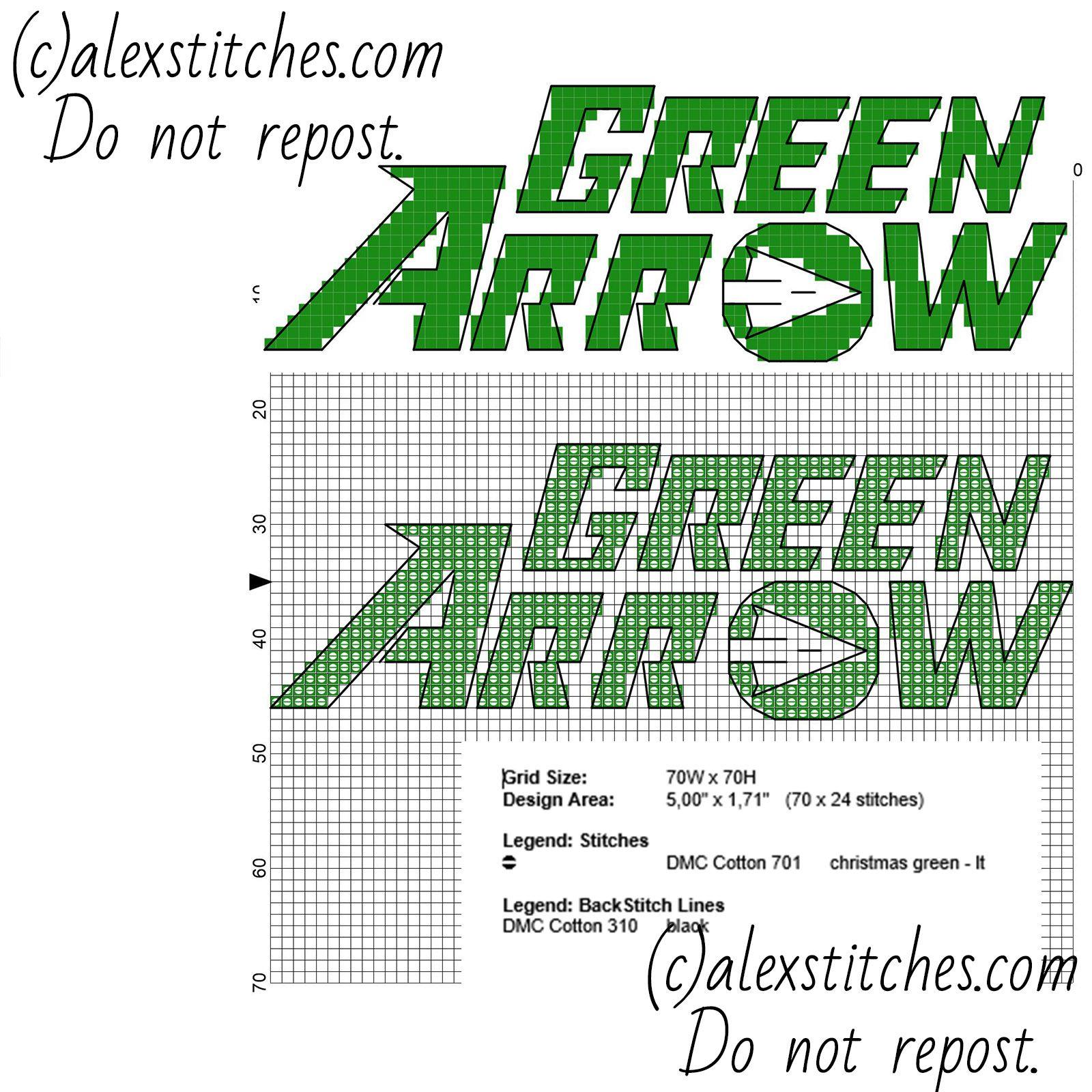 Green Arrow DC Comics Superhero text and logo free cross stitch ...
