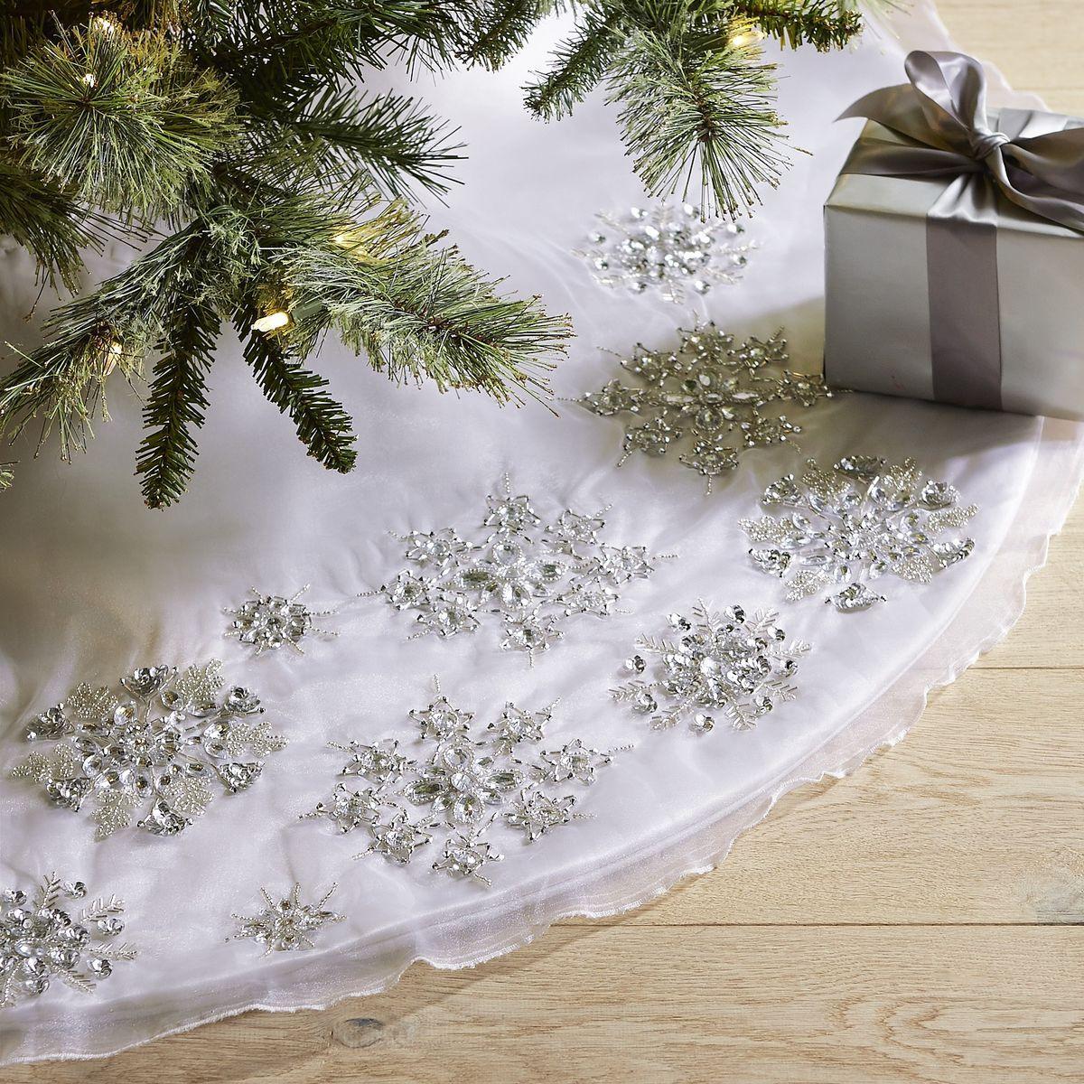 Beaded Overlay Snowflake Tree Skirt | Pier 1 Imports ...