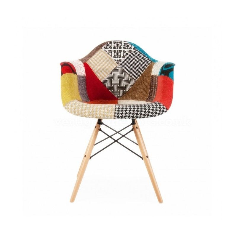 with our multicoloured side chair give a graceful touch of your bedroom - Chaise Patchwork Eames