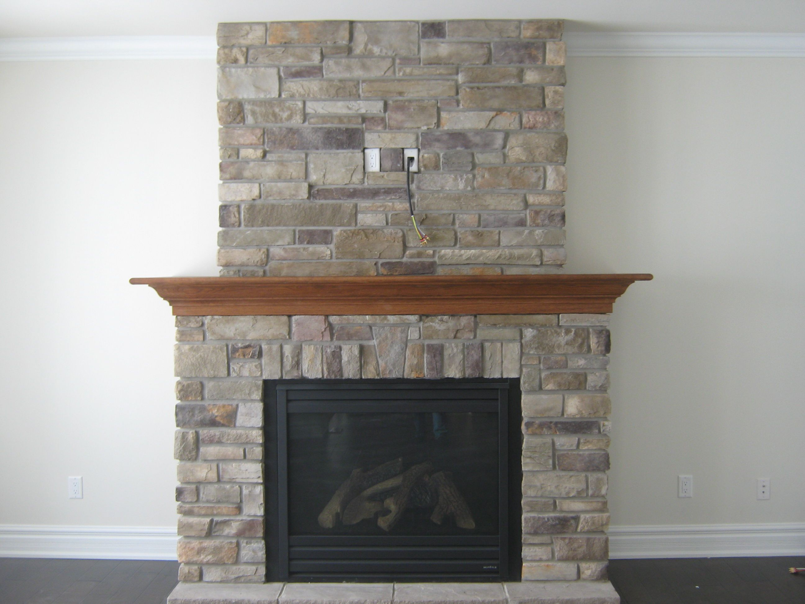Custom fireplace with \u201cCountry Ledge Stone\u201d | Stone fireplaces ...