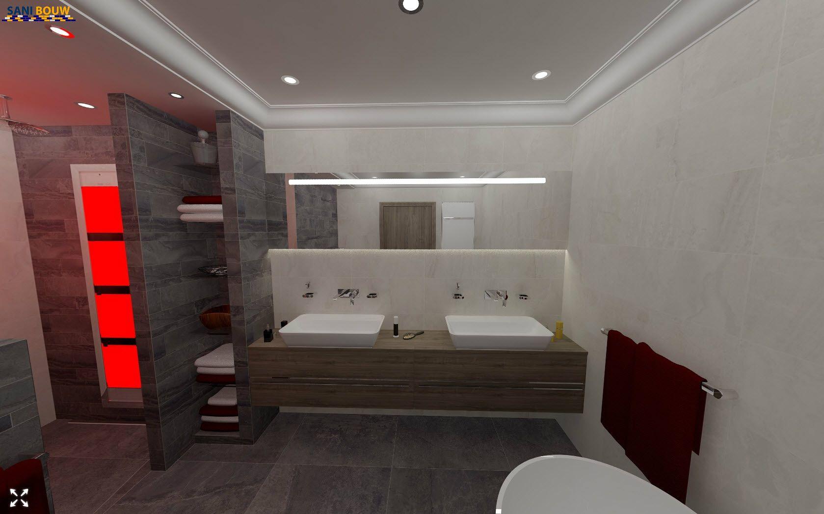 Betegelde open wandkast die deel uitmaakt van de scheidingswand inloopdouche een 3d - Model betegelde badkamer ...
