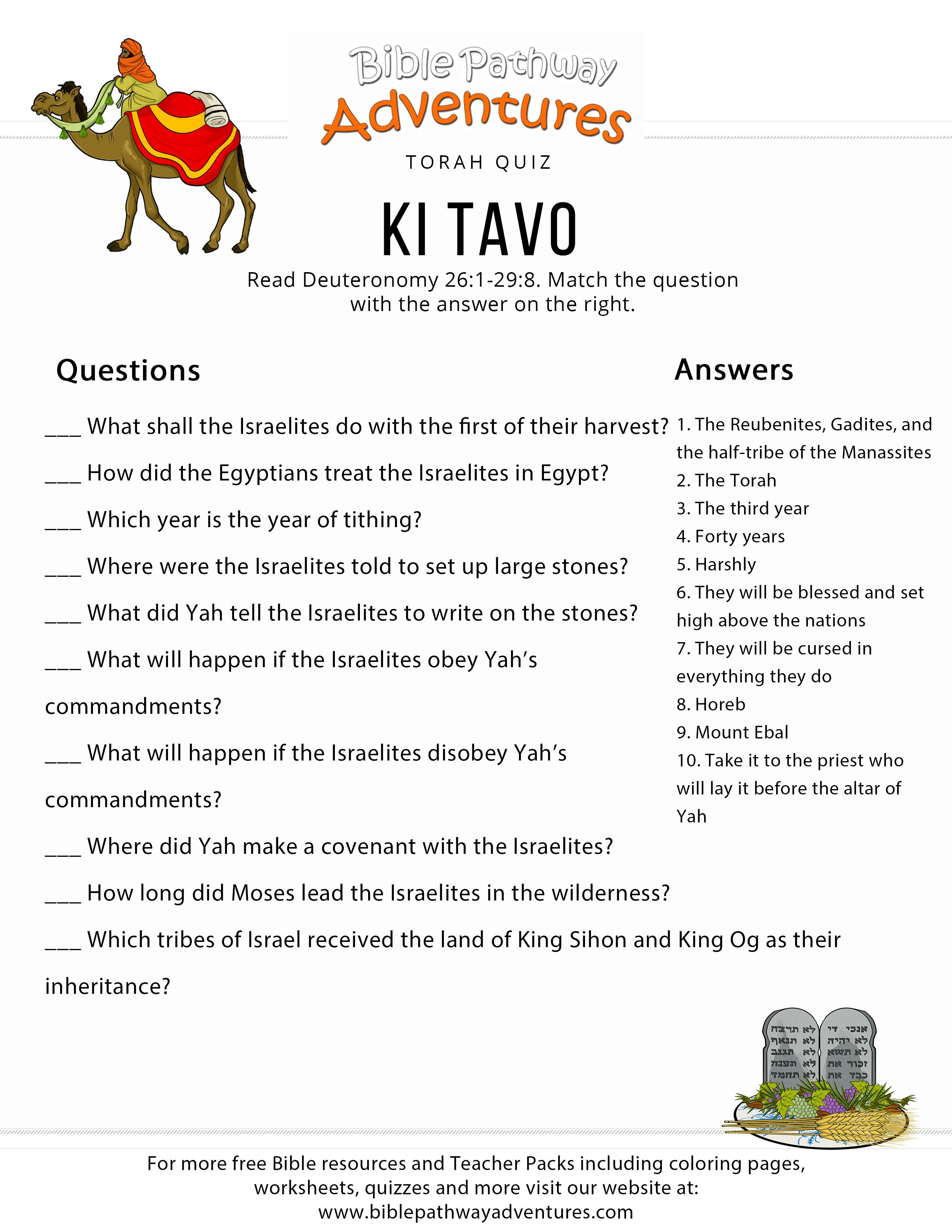 Torah Portion Quiz Ki Tavo Deuteronomy 26 1 29 8