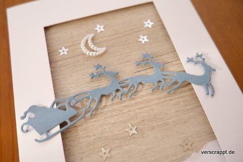 Weihnachtskarte-Weihnachten-Christmas-Xmas-Karte-Card-Santa-Weihnachtsmann-Rentiere-Schlitten-weiß-silberne-Sterne-Mond-Passepartout-Detail